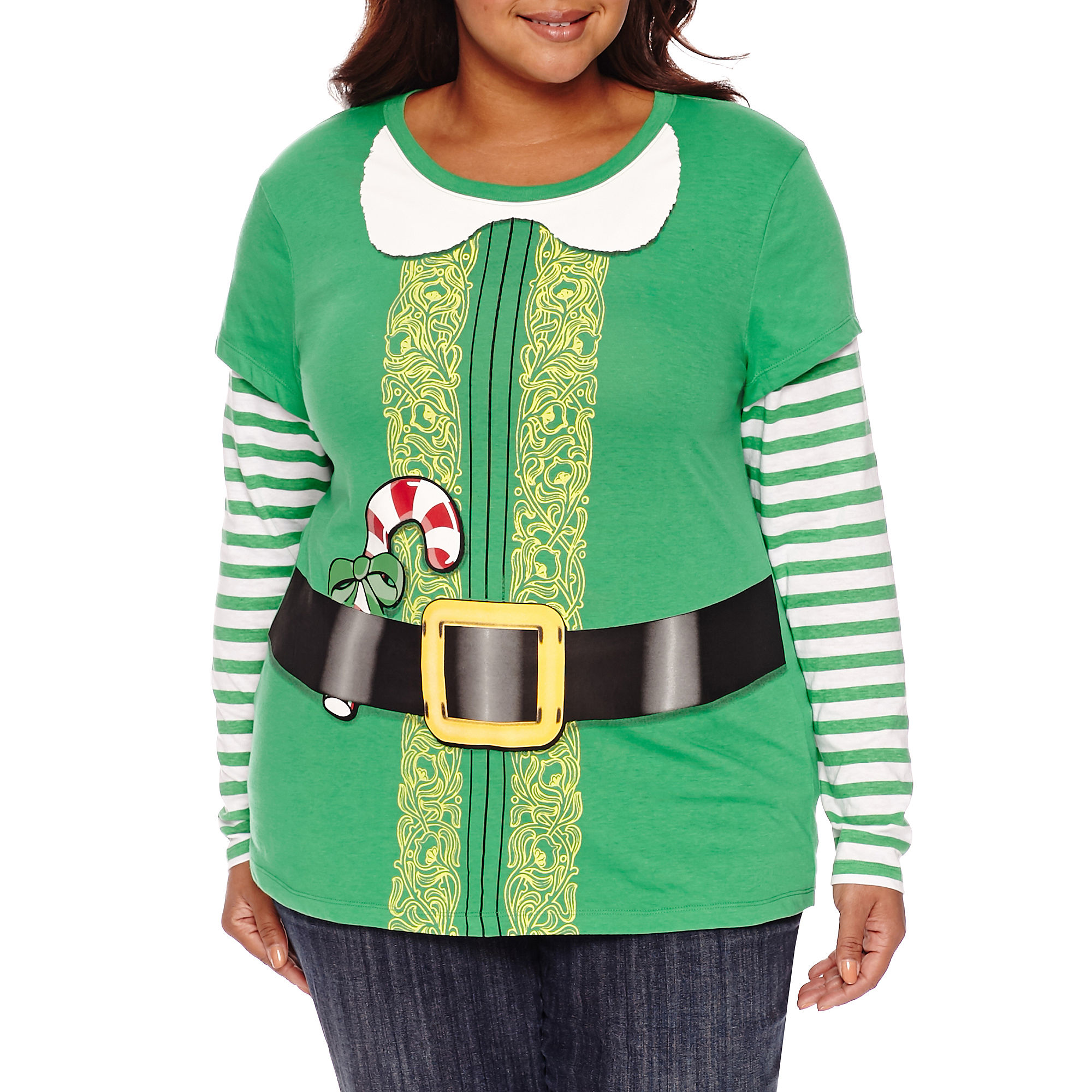 Long Sleeve Scoop Neck T-Shirt-Juniors Plus plus size,  plus size fashion plus size appare