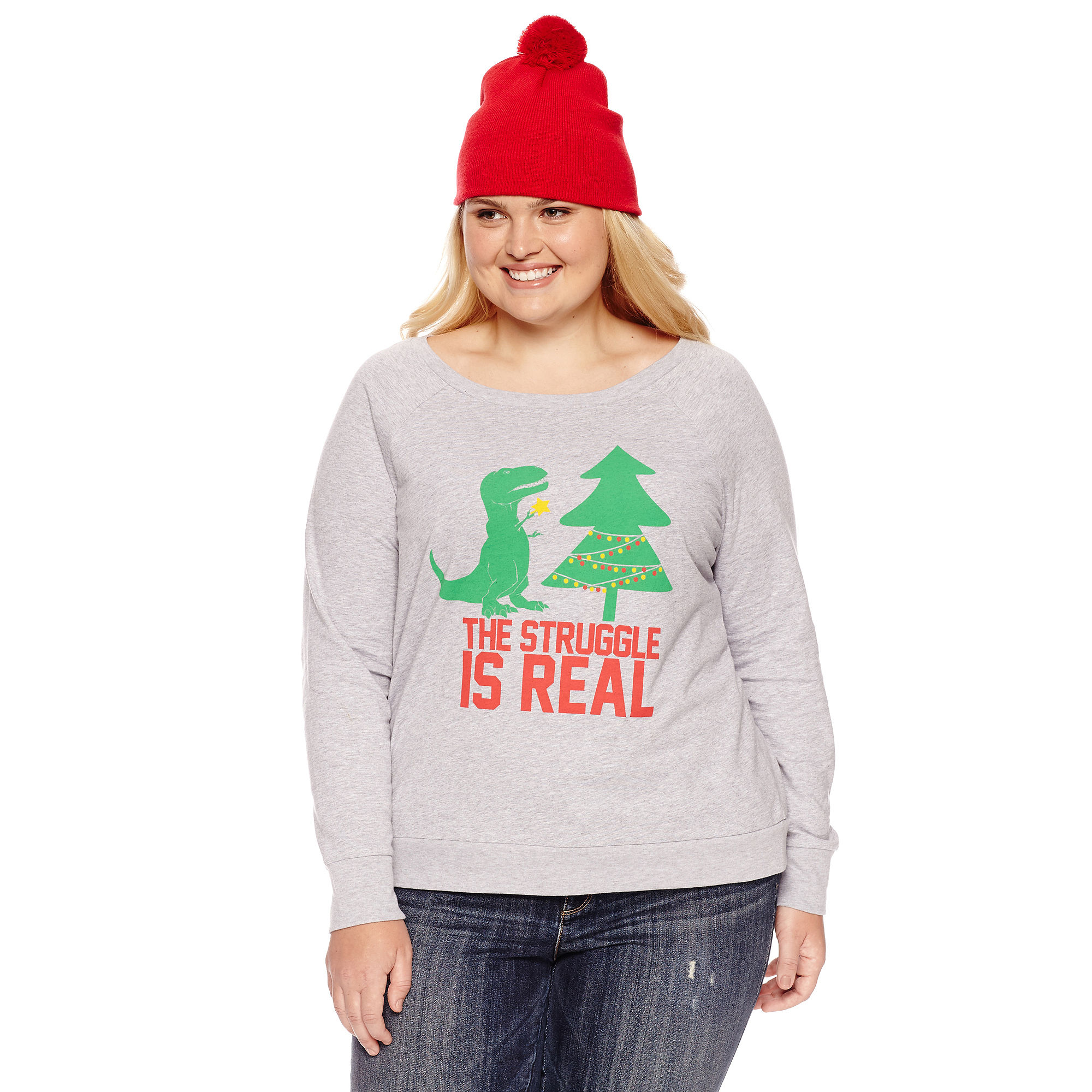 Sweatshirt + Beanie Combo-Juniors Plus plus size,  plus size fashion plus size appare