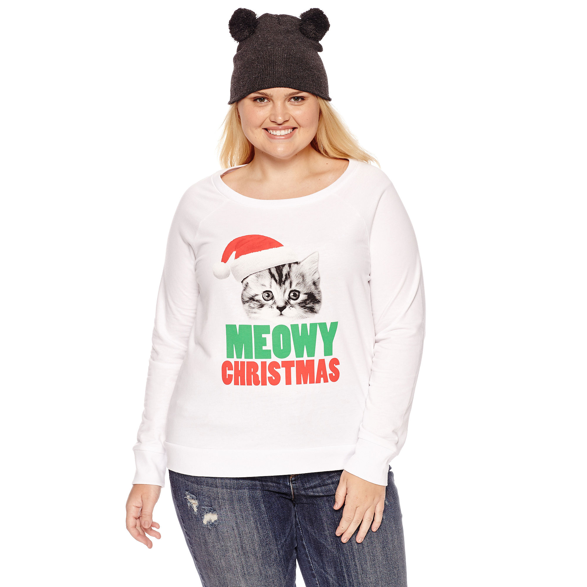 Sweatshirt + Beanie Combo- Juniors Plus plus size,  plus size fashion plus size appare