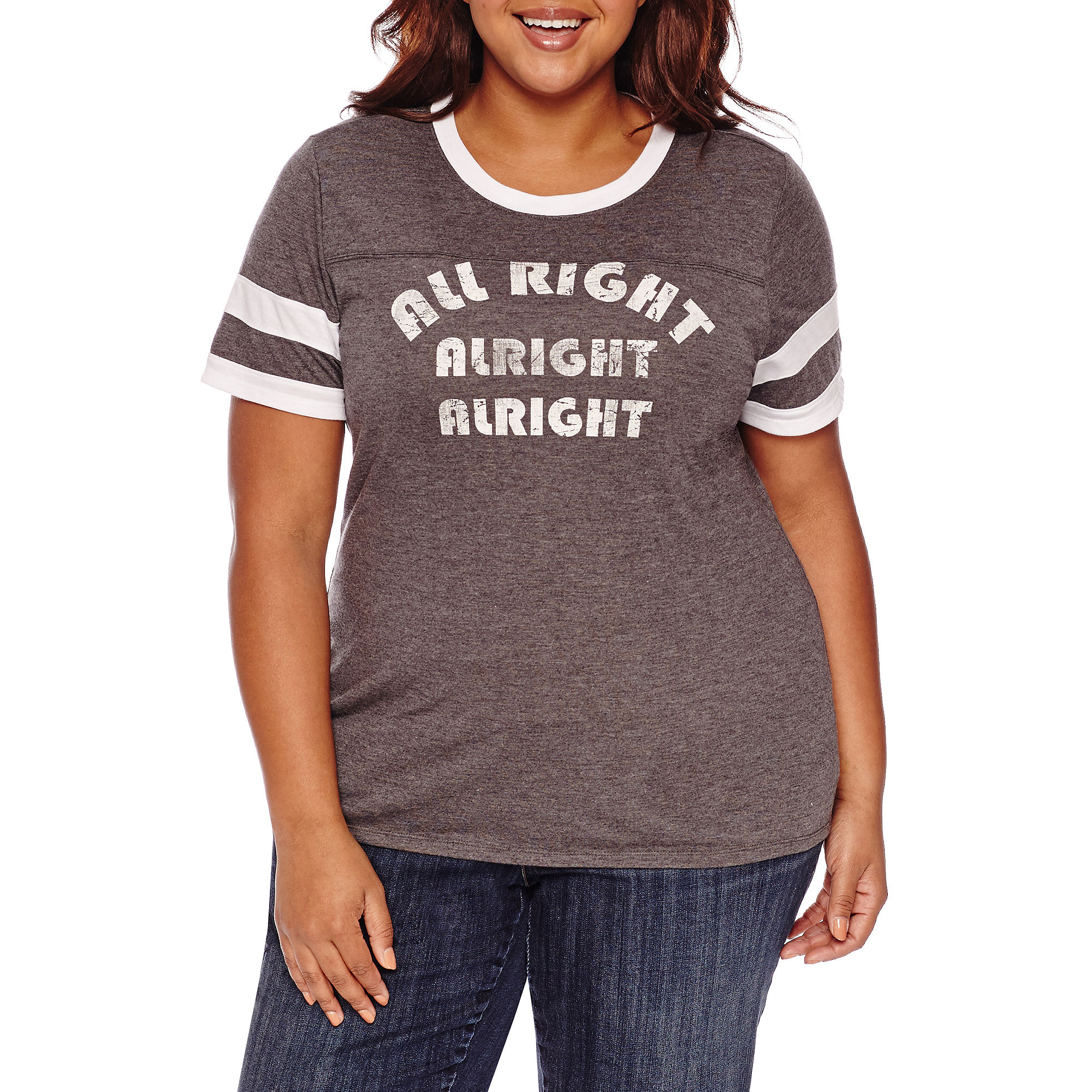 Arizona Short Sleeve T-Shirt-Juniors Plus plus size,  plus size fashion plus size appare