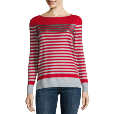 jcpenney.com | Liz Claiborne Long Sleeve Boat Neck Sequin Stripe Sweater