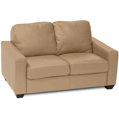 Leather Possibilities Track-Arm Loveseat