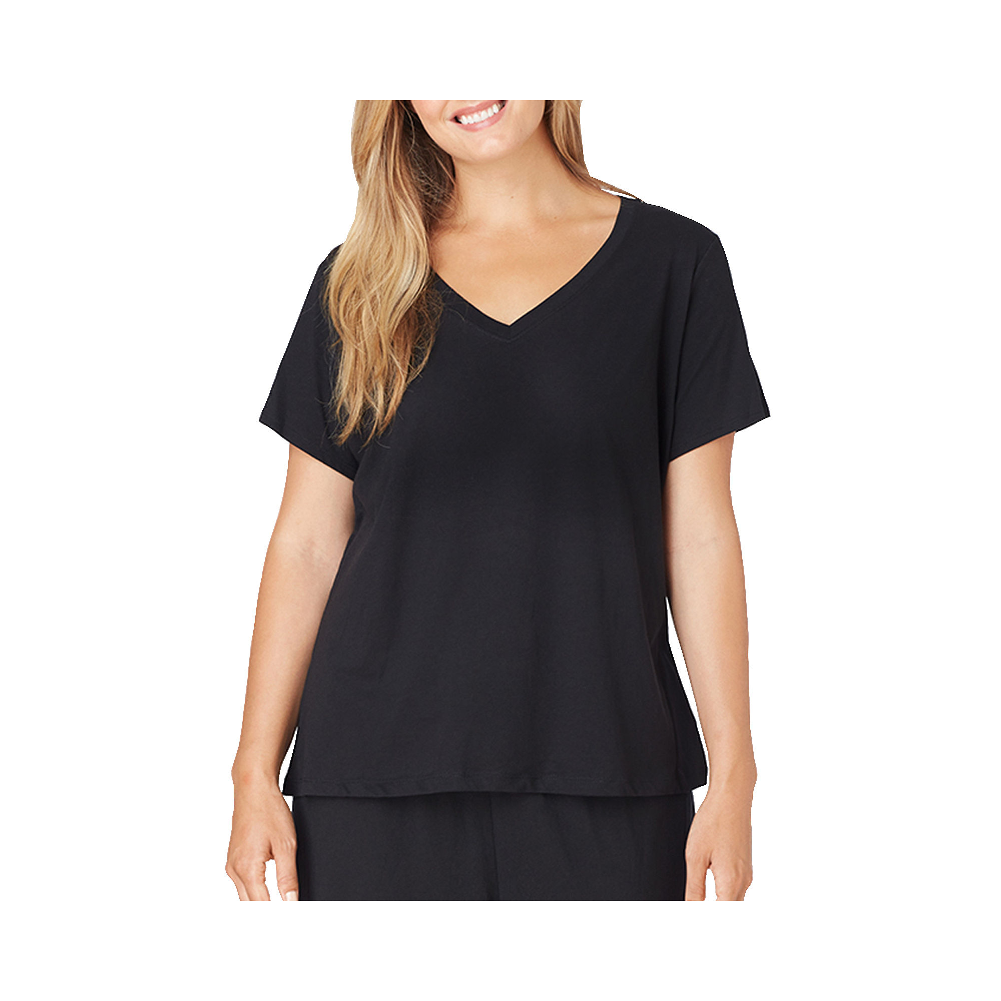 Jockey Short-Sleeve V-Neck Sleep Tee - Plus plus size,  plus size fashion plus size appare