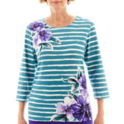 Alfred Dunner® Lake Ontario 3/4-Sleeve Striped Floral Top - Petite