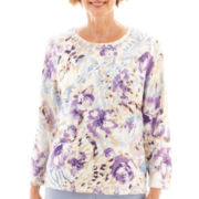Alfred Dunner® Fine Romance 3/4-Sleeve Flower Print Knit Top - Petite