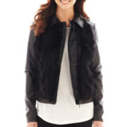 i jeans by Buffalo Faux-Leather Jacket with Faux-Fur Trim