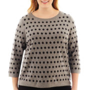 Liz Claiborne® 3/4-Sleeve Dot Sweater - Plus