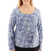 Liz Claiborne® Long-Sleeve Scoopneck Tee - Plus