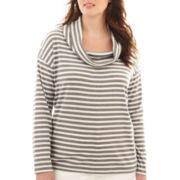 Liz Claiborne® Long-Sleeve Striped Cowlneck Tee - Plus