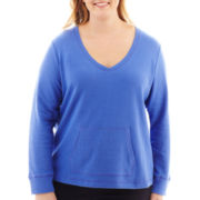 Liz Claiborne® Long-Sleeve V-Neck Sweatshirt - Plus