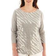 Liz Claiborne® 3/4-Sleeve Sequin-Striped Tee - Plus