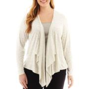 Liz Claiborne® Long-Sleeve Animal Print Cardigan Sweater - Plus