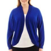 Liz Claiborne® Long-Sleeve Shawl-Collar Cardigan Sweater - Plus