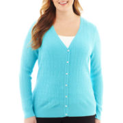 Liz Claiborne V-Neck Cable Cardigan Sweater - Plus