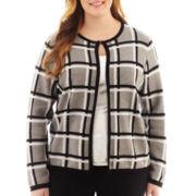 Liz Claiborne Long-Sleeve Plaid Sweater Jacket - Plus
