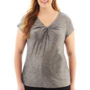 Liz Claiborne® Cap-Sleeve Knot-Neck Foil Print Tee - Plus