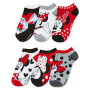 Disney Minnie Mouse Womens 6-pk. No-Show Socks