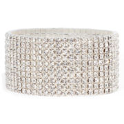Vieste® Rhinestone Silver-Tone 10-Row Stretch Bracelet