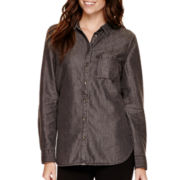 a.n.a® Long-Sleeve Point Collar Button-Front Tunic - Tall