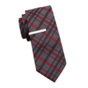 JF J. Ferrar® Chad Plaid Tie and Tie Bar - Slim