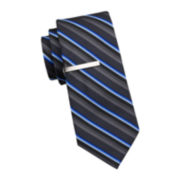 JF J. Ferrar® Les Striped Tie and Tie Bar - Slim