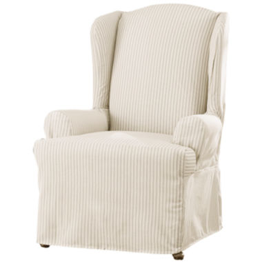 jcpenney.com | SURE FIT® Ticking Stripe 1-pc. Wing Chair Slipcover