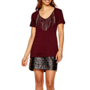 BELLE + SKY™ Chain Fringe T-Shirt or Stud Faux-Leather Skirt