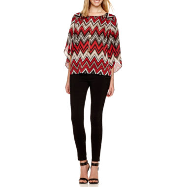 jcpenney.com | Alyx® Split-Sleeve Print Top with Necklace or Slim Millenium Pants