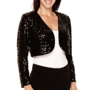 R&M Richards Long-Sleeve Sequin Shrug