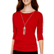 By & By 3/4-Sleeve Knit Lace-Shoulder Necklace Top
