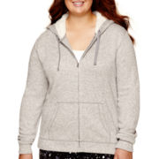 City Streets® Long-Sleeve Sherpa Hoodie - Juniors Plus