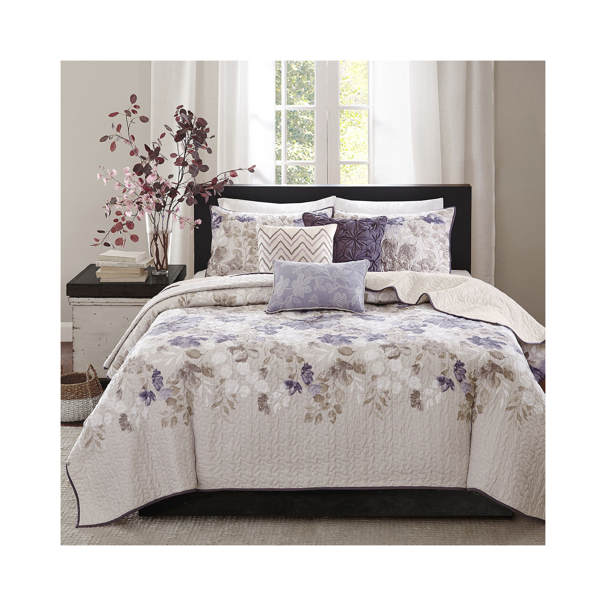 Madison Park Piper Floral 6-pc. Quilted Coverlet Set