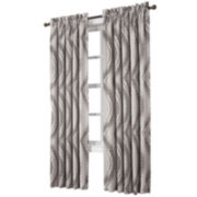 Sun Zero™ Emory Printed Wave Room-Darkening Rod-Pocket Curtain Panel