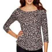 Liz Claiborne® 3/4-Sleeve Boatneck T-Shirt - Petite