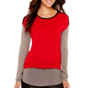 nicole by Nicole Miller® Long-Sleeve Colorblock Sweater