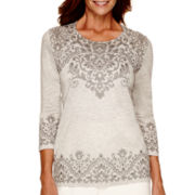 Alfred Dunner® Alpine Lodge 3/4-Sleeve Medallion Print Top
