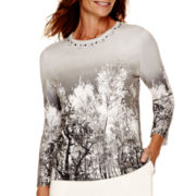 Alfred Dunner® Alpine Lodge 3/4-Sleeve Scenic Print Sweater