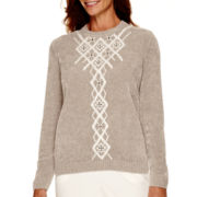 Alfred Dunner® Alpine Lodge Long-Sleeve Embroidered Chenille Sweater