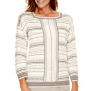 Alfred Dunner® Alpine Lodge 3/4-Sleeve Striped Sweater