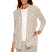 Alfred Dunner® Alpine Lodge 3/4-Sleeve Fringed Cardigan Sweater