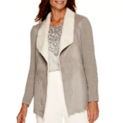Alfred Dunner® Alpine Lodge Long-Sleeve Drape-Front Sherpa Cardigan Sweater