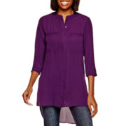 a.n.a® 3/4-Sleeve Button-Front Tunic Top