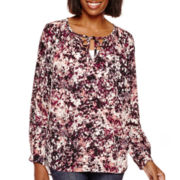 a.n.a® Long-Sleeve Tie-Front Blouse