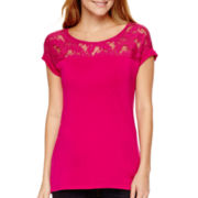 a.n.a® Short-Sleeve Lace Yoke T-Shirt