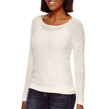 jcpenney.com | a.n.a® Long-Sleeve Mesh Sweater- Petite
