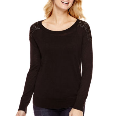 jcpenney.com | a.n.a® Long-Sleeve Stud Jewel Shoulder Sweater - Tall