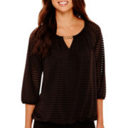 Alyx® 3/4-Sleeve Shadow Stripe Peasant Blouse