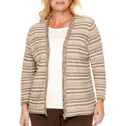 Alfred Dunner® Sycamore Lane 3/4-Sleeve Space-Dyed Layered Sweater -Plus