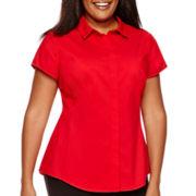 Worthington® Short-Sleeve Woven Shirt - Plus