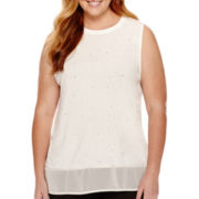 Worthington® Sleeveless Embellished Tunic Top - Plus